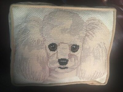 Vintage Poodle Dog Handmade Needlepoint Pillow 9.5x7.5 Velvet Back corded edges