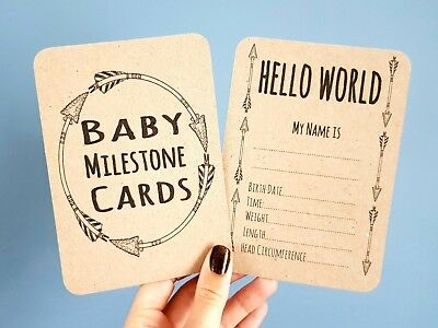 Unisex Baby Milestone cards x 20 special Moments photo brown card (a1)