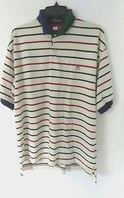 eb2526c8bfa VTG Tommy Hilfiger Polo Shirt Crest Logo Multicolor Stripe Mens Large Sz L