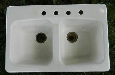 Vtg Kohler Double Bowl 4 Hole Cast Iron Kitchen Sink K 5942 33 X