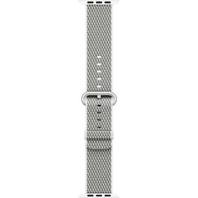 Apple Mqva2Am/a 38Mm White Woven Nylon Stainless Steel Buckle Watch Band
