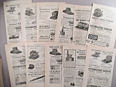Typewriter PRINT AD - 1891 - LOT of 11 Ads ~ Remington, Merritt, National, Smith