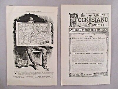 Rock Island Line Railroad PRINT AD - 1890 & 1891 - LOT of 2 Ads