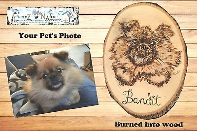 Personalized Pet memorial dog Cat Horse hand made Burnt into wood Pyography