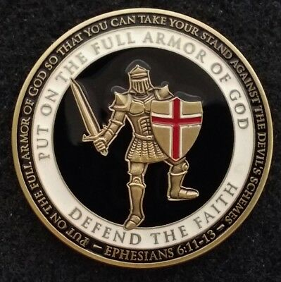 BEAUTIFUL Put on the Full Armor of God Ephesians Christian Army Challenge Coin