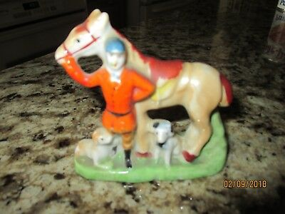 Vintage Luster Ware Figurine Horse, Rider and Dogs. Japan