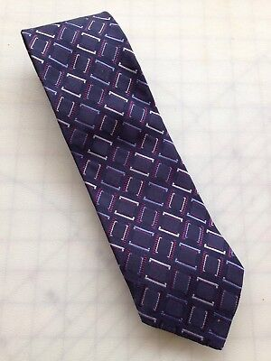 Hugo Boss Men's Necktie 100% Silk Dark Blue Geometric Tie Made in Italy