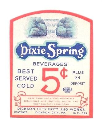 16oz DIXIE SPRINGS BEVERAGE LABEL by DICKSON CITY BOTTLING WORKS DICKSON CITY PA