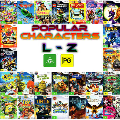 Nintendo Wii 💚💛 G & PG Games - POPULAR CHARACTERS - Titles L to Z 💛💚