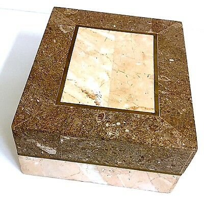 Onyx Marble Mixed Stone Trinket Jewelry Box Lid Coral Brown Brass Inlay Vintage