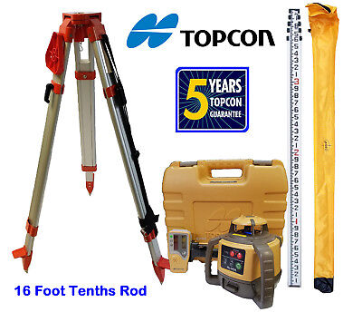 New Topcon RL-H5A Rotary Laser Level with Tripod and 16 Foot Rod - Tenths