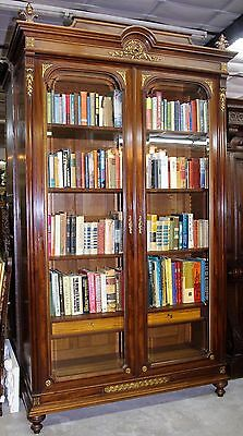 Antique Louis XVI French Mahogany and Bronze Bookcase Display Cabinet Circa 1870