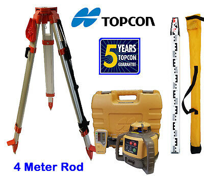 New Topcon RL-H5A Rotary Laser Level with Tripod and 4 Meter Rod - E Scale