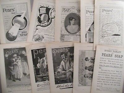 Pears' Soap PRINT AD - 1895 - LOT of 10 Ads