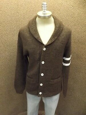 Cool Sporty Vtg 1960s NEW Brown White Warm Shawl Collar Cardigan Mens S (34/36)