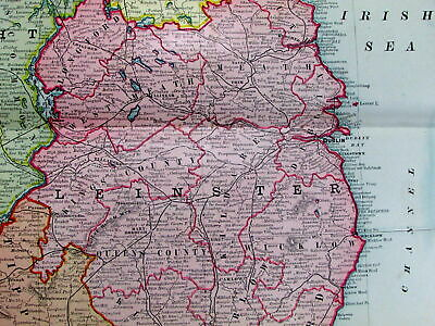 Ireland Leinster Connaught Ulster counties Belfast 1907 huge old map