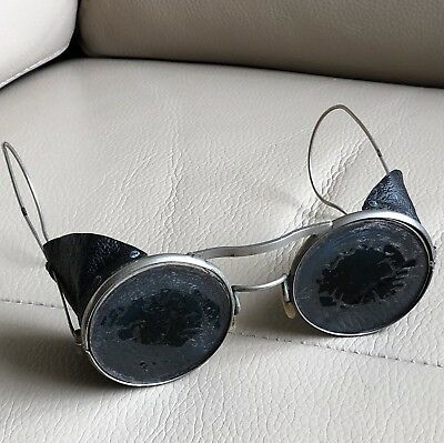 Antique Welding Glasses Dark Coating Leather Motorcycle Driving Flying Safety