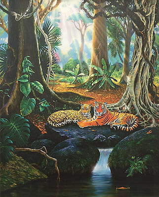 Charles Lynn Bragg JUNGLE CATS Hand Signed Giclee on Canvas TIGER & LEOPARD