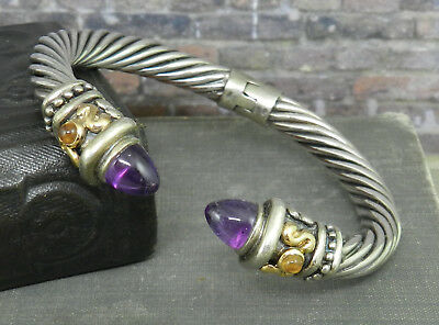 62a225422bb 925 Sterling & 14K Twisted Cable Hinged Cuff Bracelet w/ Amethyst & Citrine
