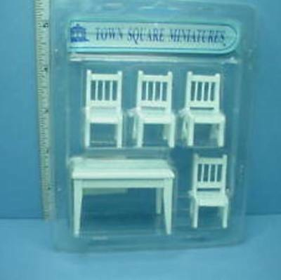 1/2 scale Dollhouse Miniature Table-Chair Set, 5 pieces in white, Town Square