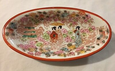 Vtg Antique Hand-Painted Oriental Asian GEISHA Oval Tray Bowl Made Japan