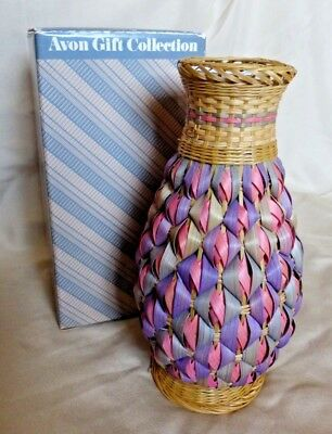 NEW Avon Pastel Basket Collection Wicker Pink/Purple Bud Vase - Old Stock