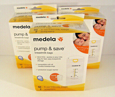 Medela Pump & Save Breastmilk Bags 50 Ct Plus Adapters Lot of 3 Boxes New Sealed
