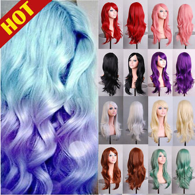 "27"" Long Hair Wig Curly Wavy Anime Cosplay Full Wigs High Temperature Synthetic"