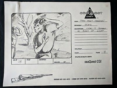 """SeaQuest 2032 Hand Drawn Production """"FEAR THAT FOLLOWS"""" Storyboard PG 4 #MS"""