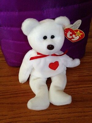 MWMT Ty Beanie Babies Valentino 1994 White Red Heart Bear Retired Plush  Animal 2f205107cd55
