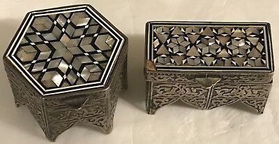 2 Vintage 1940's EGYPTIAN Hallmarks Sterling Silver TRINKET BOXES w/MOP Inlay