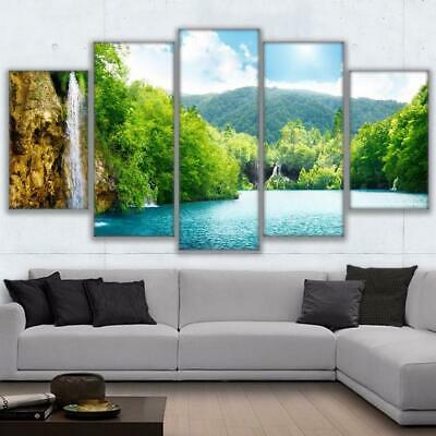 Wall Art Framed or Unframed HD Canvas Prints 5 Pieces River Waterfall Mountai...