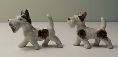 "Set of 2 - Vintage Ceramic Tri-color Wire Fox Terrier Figurine - 2"" tall - Japan"