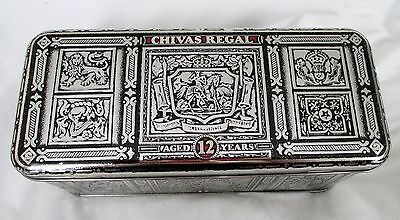 1980's Vintage Chivas Regal Scotch Embossed Hinged Tin Box Marked Scotland