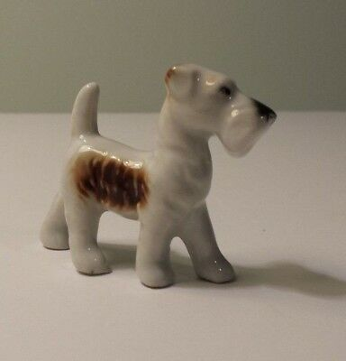 "Vintage Ceramic Tri-color Wire Fox Terrier Figurine - 2"" tall - Japan"