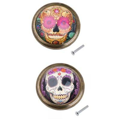 2pcs Skull Cupboard Door Knob Wardrobe Drawer Pull Handle Cabinet Hardware