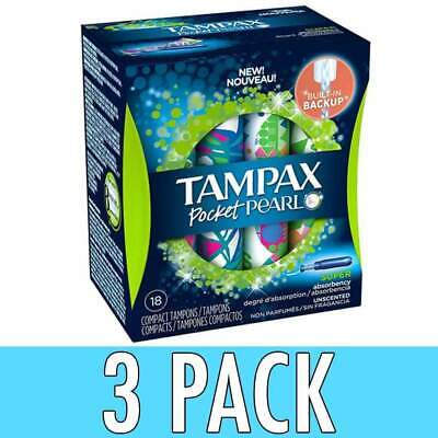 Tampax Pocket Pearl Compact Plastic Tampons, Unscented, Super, 18 ea, 3 Pack