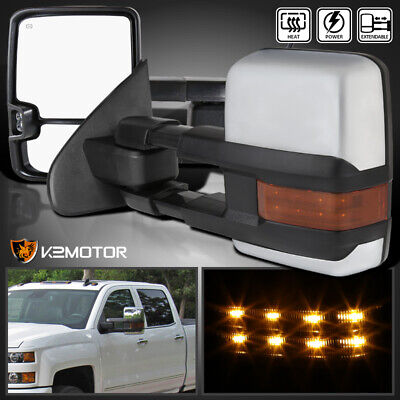 2014-2018 Silverado Sierra POWER+HEAT Extend Tow Mirrors w/LED Signal+Clearance