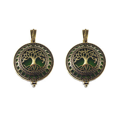 Pack of 2 Antiqued Bronze Color Brass Tree Locket Round Shaped Charms Pendants