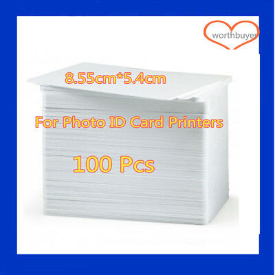 100Pcs CR80 30mil White Blank PVC Plastic Cards For Any Photo ID Card Printer W#