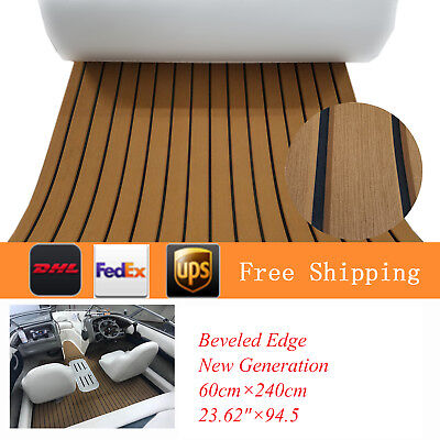 "Upgraded 94""×23""  EVA Faux Teak Deck Sheet For Boat Yacht Brown Flooring Mat"