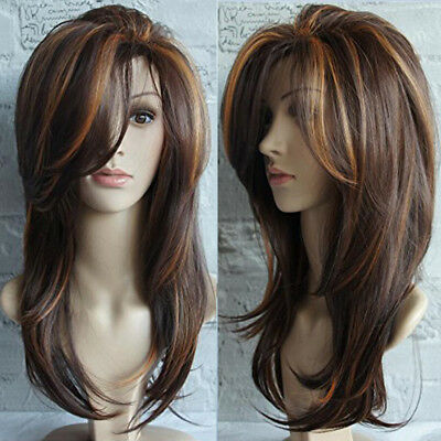 Women 45cm Long Wavy Curl Full Wigs Brown Hair Wig Cosplay Extension Accessories
