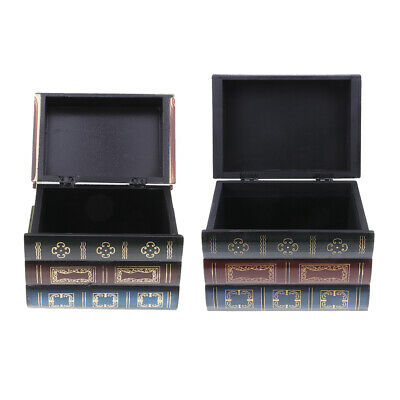 Vintage Book Shape Jewelry Treasure Chest Holder Case Handmade Wooden Boxes