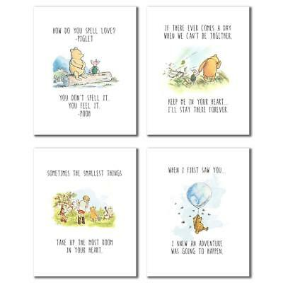 4  x CLASSIC WINNIE THE POOH QUOTE PRINTS , AVAILABLE IN 3 SIZES , NEW UNFRAMED