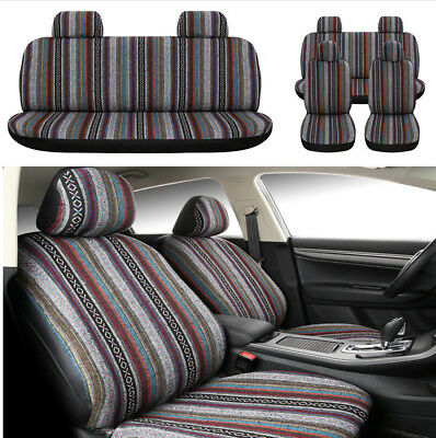 Universal 5 Seats Car Driver's Seat Cover Colorful Retro Pattern Durable New