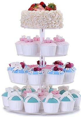 BonNoces 4 Tier Acrylic Glass Round Cupcake Stands Tower - Tiered Cupcake