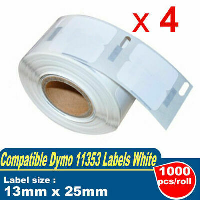 4x Compatible Dymo 11353 Label Roll 13mm x 25mm LabelWriter 450 400 Turbo 4XL