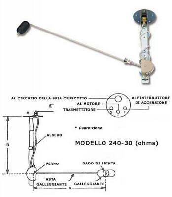 GALLEGGIANTE PER INDICATORE DI LIVELLO CARBURANTE Ohms 10 - 180 ACCESSORI NAUTIC