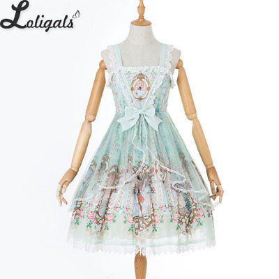 Sweet Rococo Style Lolita JSK Dress Floral Printed Short Party Dress 0af271a2389f