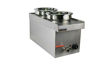 Commercial Wet BAIN MARIE with TAP  2 x 7L Round Pots - Electric  2018